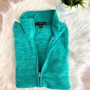 Green White Zip Up Cardigan Vest